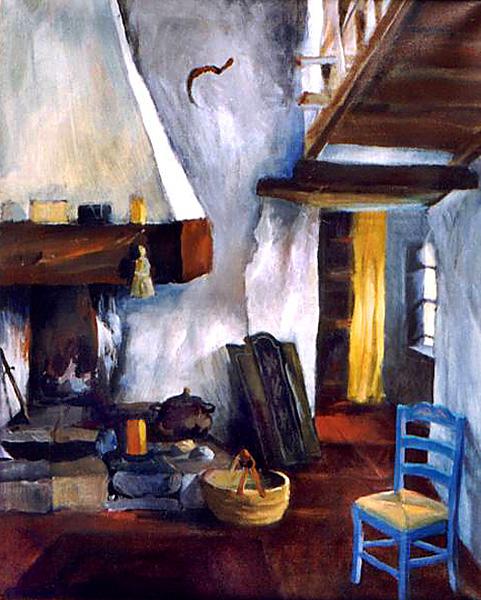 """La chaise bleue"", obraz olejny"