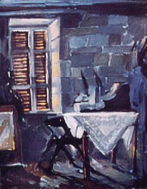 """""""Zamknięte okiennice"""", obraz olejny"""